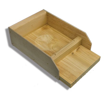 T-14 Wood Nesting Tray features a hollowed-out nest bowl and built-in perch.